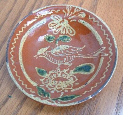 Mary Spellmire Shooner Redware Pottery Miniature Slipware Plate ~ 1991 Tcp