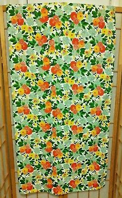 "VERA NEUMANN Floral Rectangle Cotton Blend Tablecloth 60"" x  83' VTG STYLE"