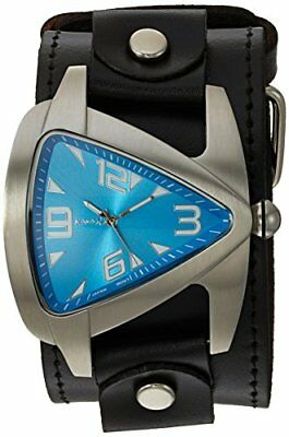 Nemesis Men's LBB011L Oversized Collection Blue TearDrop Triangle Leather Band W