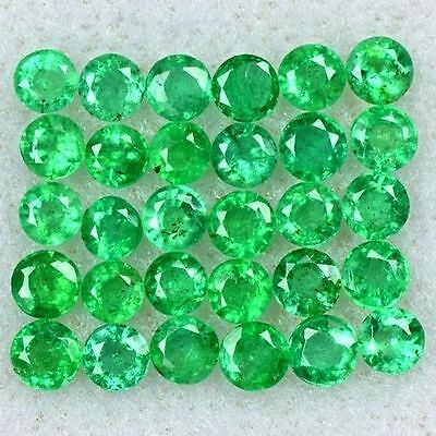 2.08 Cts Natural Top Green Emerald Round Cut Lot Zambia Size 2 upto 2.5 mm Loose