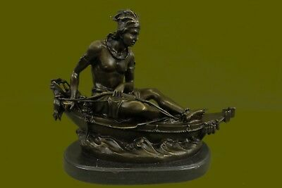 A Native American woman on a canoe Home Office Bronze Statue Decoration Figurine