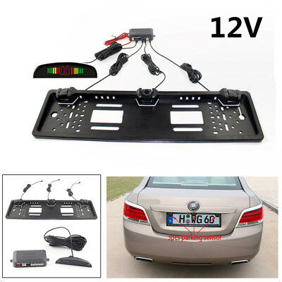 Car European License Plate Monitor System Reversing Parking Radar 3 Sensors Kit