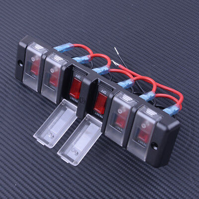6 Gang Waterproof Rocker Switch Control Panel Red LED for Car Marine Boat Ship