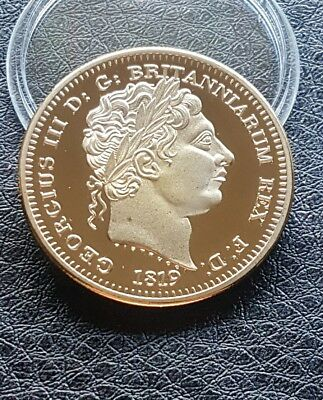 Collectable Commemorative Gold Plated King Georgivs Iii Crown Coin 1819