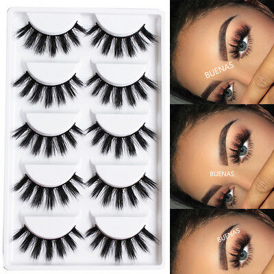 BUENAS 5 Pairs 3D Mink Hair False Eyelashes Wispy Thick Cross Lashes Makeup New