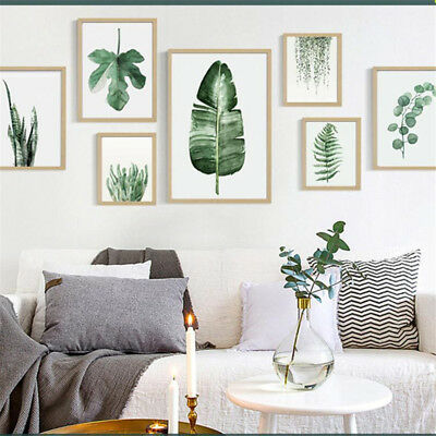 Plant Green Leaves Unframed Canvas Painting Art Poster Office Living Room Decor