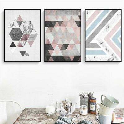 Modern Nordic Geometric Abstract Unframed Wall Painting Art Living Room Painting