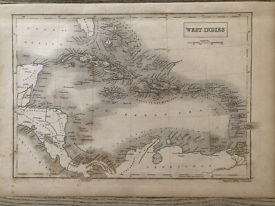 1840 West Indies Hand Coloured Map By Sidney Hall And A & C Black 178 Yrs Old