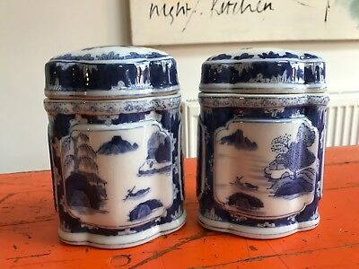 Pair of Antique Chinese Export Blue & White Porcelain Tea Caddy Jar
