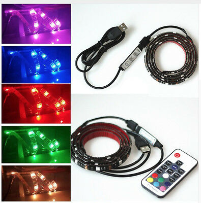 5050 1-3M SMD RF Wireless Remote Battery & USB Powered RGB LED Strip Light 5V