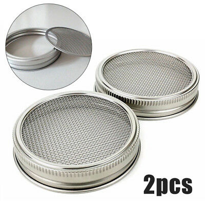 2Pcs Stainless Steel Wide Mouth Mason Canning Jars Strainer Sprouting Lids