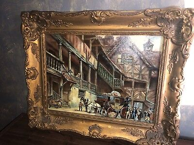 Fine Large Antique 19thC Oil Painting of Victorian Coach House