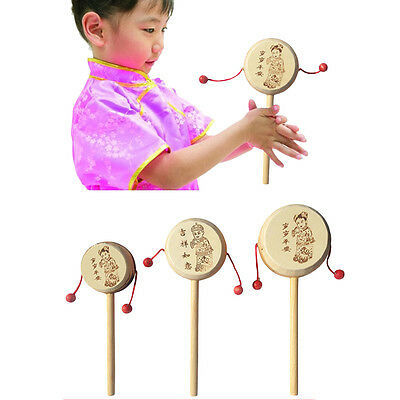 Baby Kids Child Wood Rattle Drum Instrument Child Musical Toy Chinese Styles &K