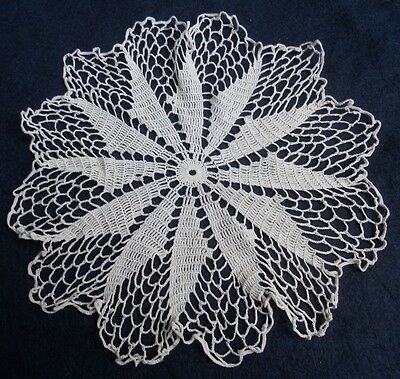 Vintage Doillie,light Ecru/cream,off White, Hand Crochet Table Doillie/mat