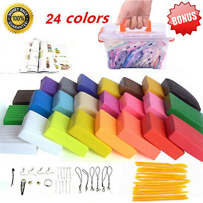 Polymer Clay 24 Colors Oven Bake Set Colorful Modeling Tool Soft Craft  Set Gift