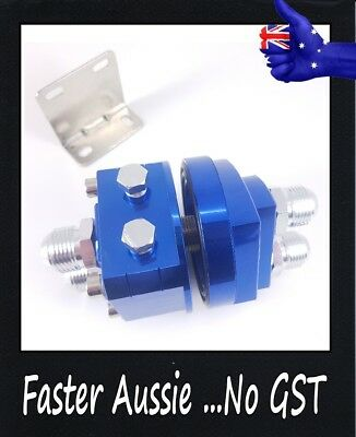 Blue  AN10 AN-10 racing oil cooling Relocation sandwich Plate filter adapter kit