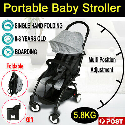 Compact Lightweight Baby Stroller Travel Pram Easy Fold Carry-on Plane Pushchair