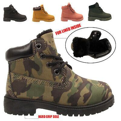 Kids Boys Army Girls Infants Combat Camouflage Ankle Winter  Warm Boots Sizes