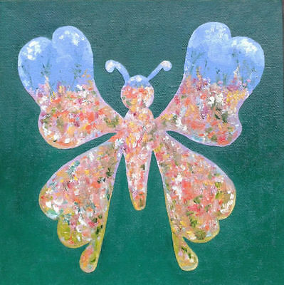 "Small Original oil painting on canvas ""Butterfly Garden"" UNFRAMED ready-to-hang"
