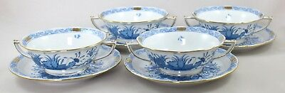 Herend Porcelain Indian Basket Blue Fb Cream Soup Coupes & Saucers 743 X 4 1St