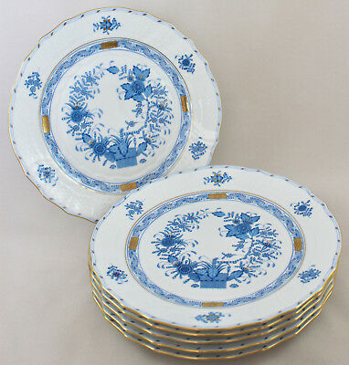 "Rare Herend Porcelain Indian Basket Blue Fb 9"" Luncheon Plates 1521 X 6 1St Mint"