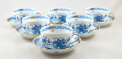 Rare Herend Porcelain Indian Basket Blue Fb Tea Cups & Saucers 1726 X 6 1St
