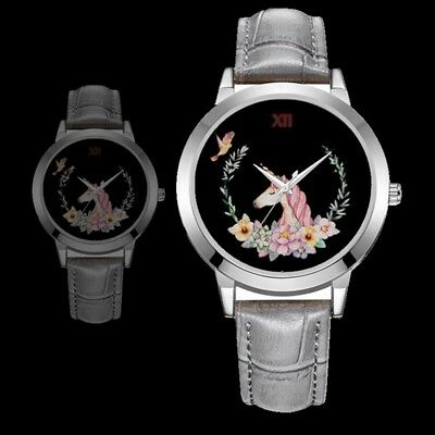 Stock Unisex Kids Girls Boys Alloy Unicorn Analog Quartz Band Watches Gifts