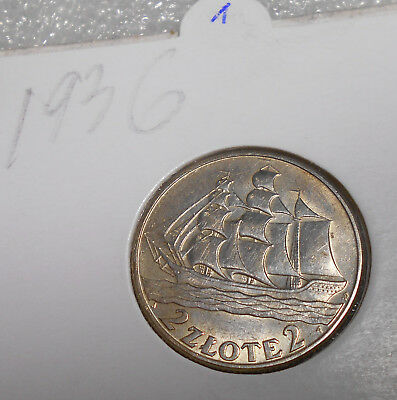 Poland 2 Zlotych Silver Coin 1936 Circulated / Sailing ship (1)