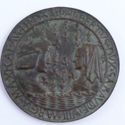 15th CENTURY BRONZE PLAQUETTE, KING LOUS XII AND ANNE OF BRITTANY