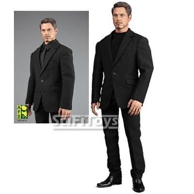 """1/6 Male Custom Iron Man Tony Stark Men Black Casual Suit Outfit for 12"""" Figure"""