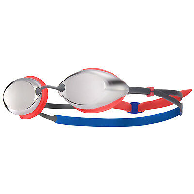 Tyr Tracer Fina Approved Mirrored Junior Racing Swimming Goggles Silver Red Blue
