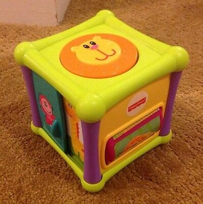 """Fisher Price Growing Baby Animal Activity Cube - Block 6 Sides 4"""" Wide, BHX66"""