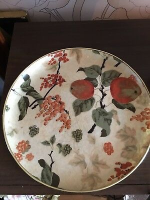 Vintage Round Arnold Designs Ltd Fiberglass Serving Tray. Pretty Colours. Fruit