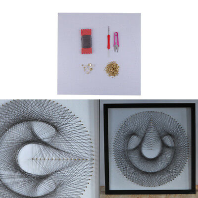 String Art Kit with Wood Borad C Geometry String Crafts for Adults 40x40cm