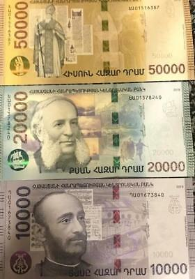 Armenia 10000 20000 50000 Dram New Hibryd Banknote Set 2018 Absolutely Unc