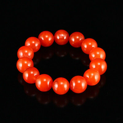 China 100% Natural handcarved Southern red agate 17mm Round bead Bracelet