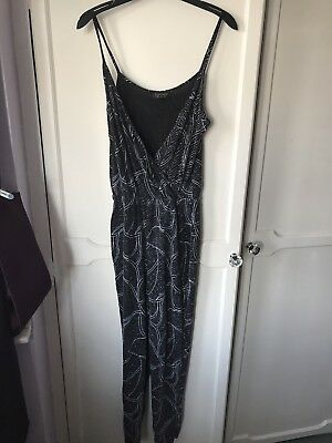 Topshop Ladies Glittery Black And Silver Jumpsuit Size 10 Eur 11