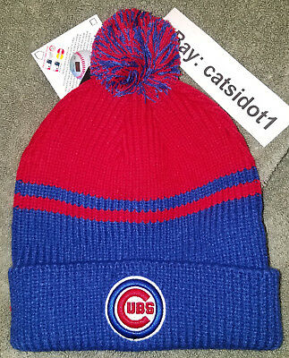 MLB Chicago Cubs Pom Beanie Knit Hat. BRAND NEW! Embroiderd Cubs Logo 0ba929b2a62f