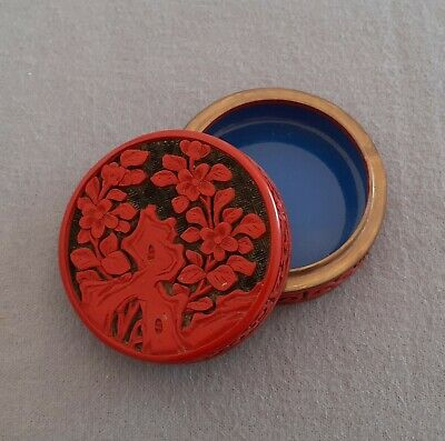 Chinese Antique Red And Black Lacquer Enamel Cinnabar Box