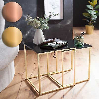 FineBuy Nesting tables KALA black / gold side table MDF / metal coffee table