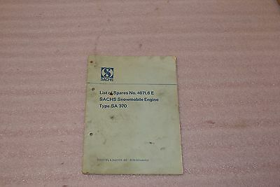 Vintage 1950s Sachs Operating Instructions Snowmobile Engine Type SA 370 Book