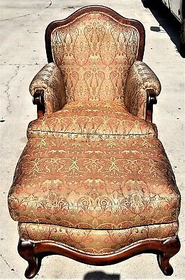BAKER FURNITURE French Provincial Hand Carved Mahogany Down Armchair w Ottoman