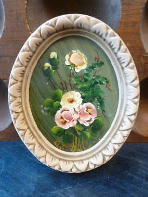 """Vintage Hand Painted Flower Oval Frame 4.5"""" X 5.5"""" Wall Art"""