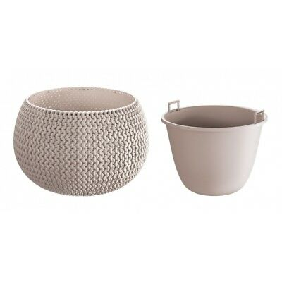 Mocca Large Lovely Flower Pot Planter Basket-Home Office-Woven Knitted Effect
