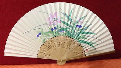 """Vintage Hand Fans Japanese Art Flower  painting paper 7.7"""" Free Shipping"""