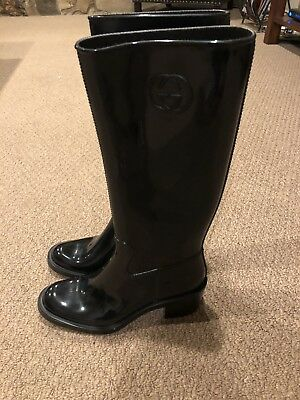 16e775990 GUCCI BLACK RUBBER Rain Boots IT 36 - $214.78 | PicClick