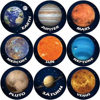 144 Solar System Planets 30mm Space Reward Stickers for Teachers or Parents