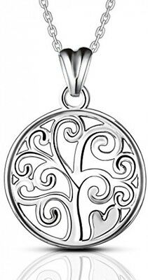 AEONSLOVE 925 Sterling Silver Tree Of Life Pendant Necklaces For Women, 18''