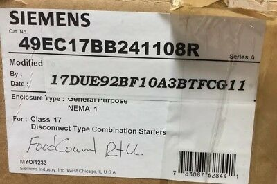 Siemens 49Ec17Bb241108R Enclosure With Modification To 17Due92Bf10A3Btfcg11