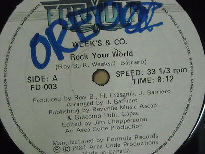 "DISCO 12"": WEEK'S & CO. ""Rock Your World"" FORMULA 1981"
